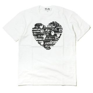 Comme des Garcons PLAY Crossover A Bathing APE Male Tee Black Heart (S