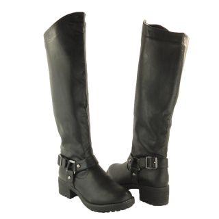 Low Heel Knee High Motorcycle Causal Riding Women Combat Boot Black