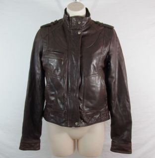 Cole Haan Womens Cocoa Washed Lambskin Leather Jacket Coat Size XS