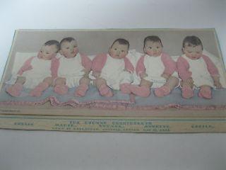 1935 DIONNE QUINTUPLETS CALENDAR TOPPER W/ 1934 FACT SHEET BROWN