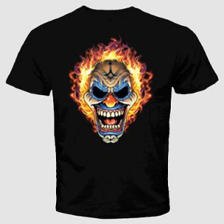 Flaming Clown Skull T Shirt Evil Clowns Joker Scary Tattoo Biker Emo