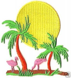 OF SAME FREE/Flamingos , Palm Tree & Sun Iron On Embroidery Applique