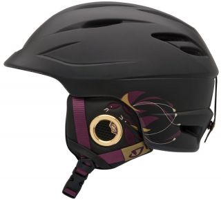 Giro Sheer Matte Black Birds Womens Ski Snowboard Helmet Snow Adult