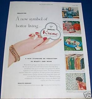 1953 Krene Bakelite Plastic Ad ~ Raincoat/house hold