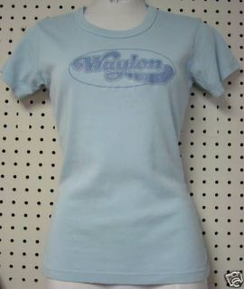 WAYLON Jennings Glitter Baby Blue Jr. Girl Style T shirt