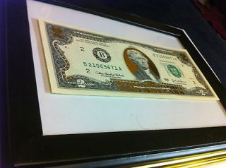 GOLD LEAF COLORIZED $2 BILL * $2 DOLLAR BILL CURRENCY GIFT MONEY