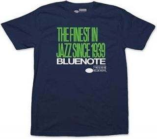 Blue Note   Finest Jazz Logo Stacked Navy Blue T Shirt