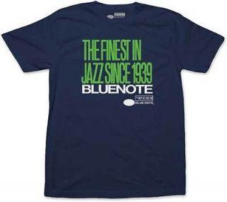 Blue Note   Finest Jazz Logo Stacked Navy Blue T Shirt