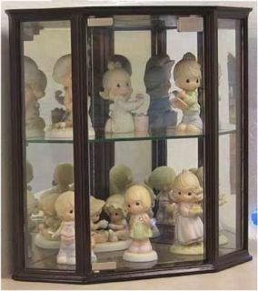 Small Corner Cabinet Wall Display Case with Mirror Back, Glass Door