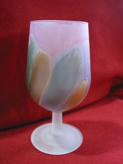 MULTI COLORED   PINK, PURPLE, GREEN, GOLD DRINKING GLASS GOBLET   DC