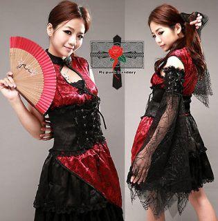 Japan Gothic Lolita Geisha Phoneix Visual Kei Burgundy Arm Warmer 3P