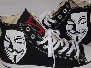 HAND PAINTED CUSTOM V FOR VENDETTA CONVERSE ALL STAR HI TOP BLACK ANY