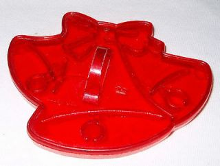 Vintage HRM Red Plastic Cookie Cutter Christmas Bells 3 5/8 x 2 7/8
