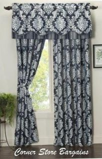 Jaclyn Smith WINDOW Panels Damask Navy/Lt Grey and Damask Herringbone