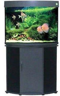 Penn Plax Compass Rose 36 Gallon Corner Fish Tank Black with Aquarium