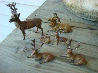 Vintage Lot 6 Putz German Lead Metal Deer Reindeer Buck Fiqures