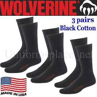 WOLVERINE SOCKS 3 Pairs COTTON WORK CREW SOCKS LARGE 10 13 W91100470