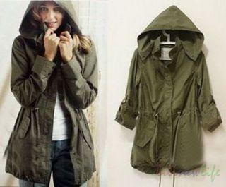 Women Lady Girl Army Green Hoodie Drawstring Military Oversized Jacket