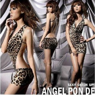 Fashion Super Sexy Lingerie Costumes Wild Leopard Backless Bodysuit+G