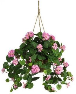 NATURAL 24 Pink Geranium Hanging Basket   Silk Flower Arrangement