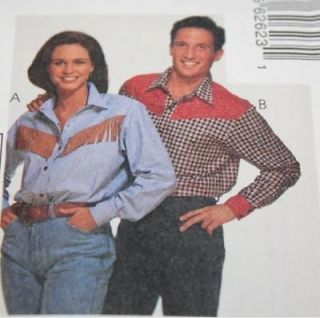 Womens Country Western Shirt Pattern Rodeo Line Dancing sz M 34 36
