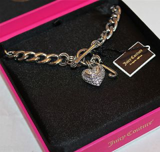 NIB JUICY COUTURE PAVE PUFFED HEART CHARM TOGGLE HEART NECKLACE SILVER