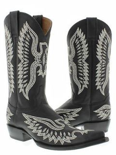 Mens cowboy boots black leather western biker rodeo phoenix eagle