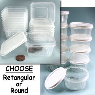 Mini Plastic Storage Container,Lid,Craft,Small Bin,Round,Rectangular