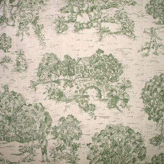 NEW 84 French Country Toile Sage Green Fabric Shower Curtain Cotton