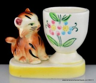 Orange Striped Cat Figurine Egg Cup Made In Japan Yellow Border VTG