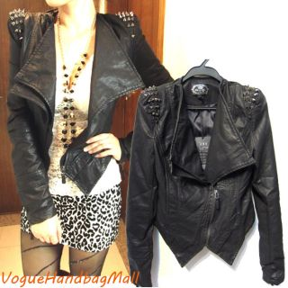 Punk Strong Spike Studded Shoulder Cropped Synthetic Leather Biker