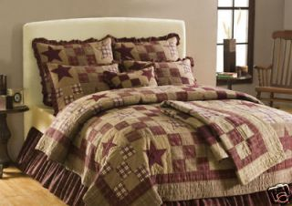 AMERICAN BURGUNDY RUSTIC STAR PATCHWORK QUEEN 5pc COMPLETE BEDDING SET