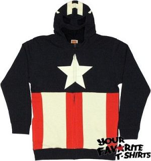 Captain America Costume With Mask Avengers Marvel Licensed Zip Up