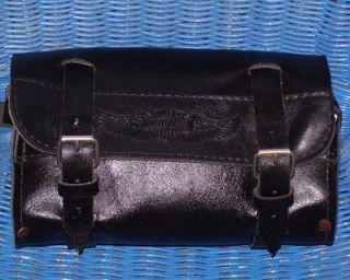 Davidson Motorcycle Black Handlebar Fork Tool Bag Buckles Strap Small