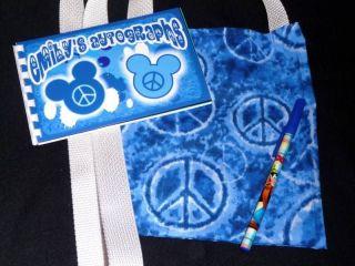 Disney PEACE SIGN MICKEY MOUSE Autograph Book/Bag/Pen