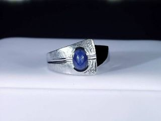 14K GOLD MENS BLUE STAR SAPPHIRE & DIAMOND RING LQQK