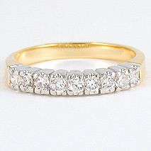 CARAT GOLD EP 9 STONE CZ CUBIC ZIRCONIA RING WEDDING BAND SIZE 5,6,7