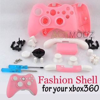 Pink Shell and White Buttons For Xbox 360 Custom Controller with Tools