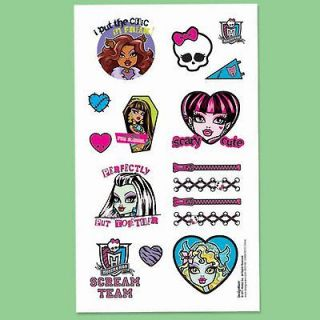 TATTOOS party MONSTER HIGH favors SKULL birthday EASTER BASKET gift