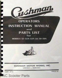 Cushman Operators Manual, Parts List Models 52 53 54 59