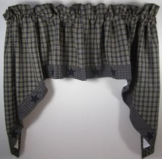 Country Navy Tan Plaid Applique Star Lined Curtain Swags 72x36