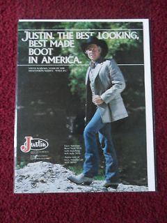 Ad JUSTIN Western Cowboy Boots ~ STEVE KANALY from DALLAS TV SHOW
