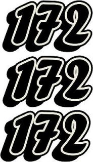 10cm 100mm 4 Custom Race Numbers 3 Piece Sticker Set Kart MX Enduro