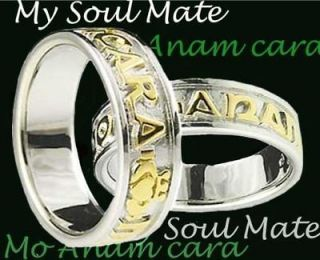 14K White Gold Silver My Soul Mate Band Wedding Ring Set celtic sz