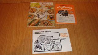 Vintage Hamilton Beach   Fry Daddy and Fryryte Deep fryer pamphlets