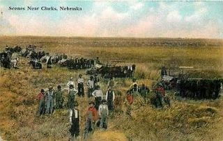 NE, Clarks, Nebraska, Farming Scene, Horse Drawn Farm Equipment