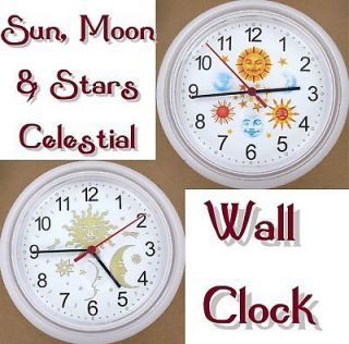 CELESTIAL Sun Moon Stars WALL CLOCK Sky Vellum Metallic