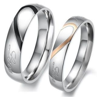 Classic Romantic Heart Shape Matching Titanium Wedding Bands Couple