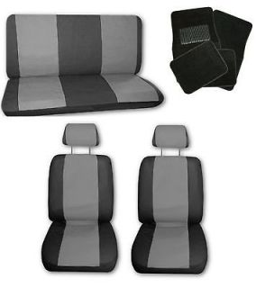 Grey Black Synthetic Leather Car Seat Covers w/ Black Floor Mats #J