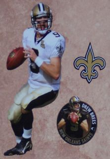 Drew Brees Mini Fathead New Orleans NFL + Saints Logo Official Wall